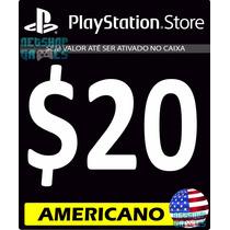 Psn Card $20 Dólar Usd Americano - Cartão Código Ps3 Ps4