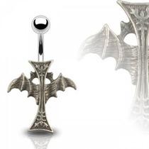 Piercing En El Ombligo Diseño Cruz Gotica