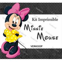 2x1 Kit Imprimible Minnie Mouse Invitaciones Fiesta Marcos