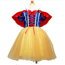Vestido Fantasia Princesa Branca De Neve Importado + Arco