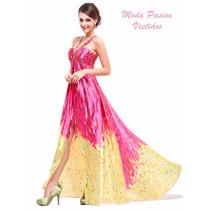 Vestido Egresadas Multicolor Con Tajo Importados Moda Pasion