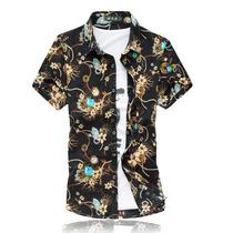 Camisa Masculina De Seda Colorida, Estampada Havaina