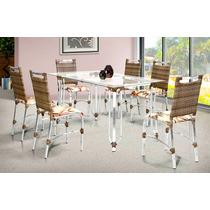 Mesa + 6 Cadeiras De Alumínio Revestida Em Fibra Sintética
