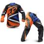Kit Roupa Motocross Enduro Protork Insane 4 Azul Laranja G