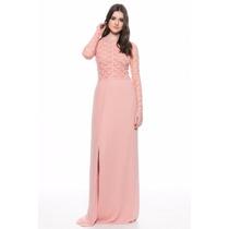 Vestido Largo Encaje Rosa Palo Y Nude Nuevo Naima Noche M