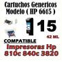 Cartuchos Hp 6615d 15 6615 P/ Impresoras Hp 810c 840c 3820