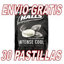 30 Pastillas Halls Negras Intense Cool Black Nivel 5 Extra