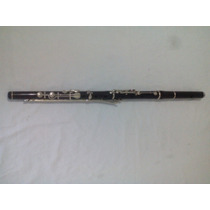 Flauta Transversal De Madeira Em Ebano Em Dó Com C/ Pé Em Si