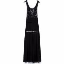Hermoso Vestido De Gasa Con Encaje Floral Color Negro