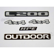Kit Emblema Adesivo Resinado Mitsubishi L200 Outdoor Hpe 4x4