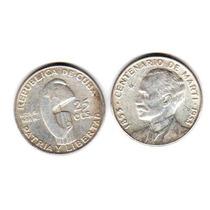 Moneda Cuba Plata 25 Centavos Año 1953 Centenario De Marti