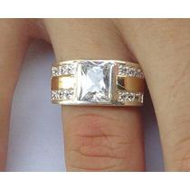 Anel Masculino Prata 950 Maciça Ouro Pedras Frete Grátis