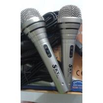 Combo De 2 Micrófonos Dinamico Sky Sdm-1400 Con Cables Nuevo