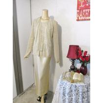 Vestido Gala Dama Talla L 12 Usa Color Dorado Crema Bodas Xv