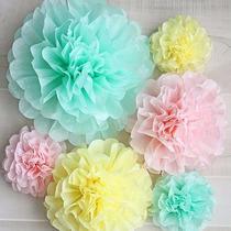 Flores De Papel De Seda Pompones P/ Decorar Girnaldas