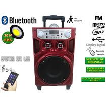 Caixa De Som Bluetooth Led Giratório 30w Rodinhas Fm Usb Sd