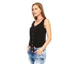 Anna Flynn - Blusa Con Botones Al Frente - Negro - T9526