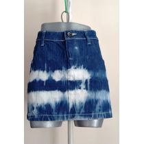 Falda Mezclilla Azul Con Blanco Deslavada Retro Vintage 9 Mx