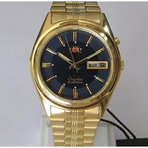 Relógio Orient Automático Masculino Folhado À Ouro Fem6q00aj