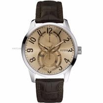 Reloj Guess Hombre, Correa Cuero, 2 Subdiales, Moderno Nuevo