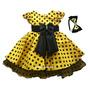 Vestido De Festa Infantil Luxo Abelhinha Abelha Com Tiara