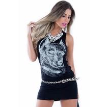 Vestido Feminino De Malha - Lobo - Kam Bess - Ve0893