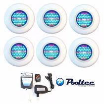 Kit Iluminação Piscina 6 Refletores Led 70 Abs Rgb + Comando