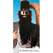 Barba Larga Y Bigote Negro Para Adulto P/disfraz Árabe