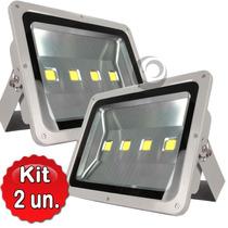 Kit 2 Refletor Led Holofote 200w Bivol Branco Frio