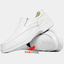 Sapato Branco Couro Pelica P/ Médicos Antistress Super Leve
