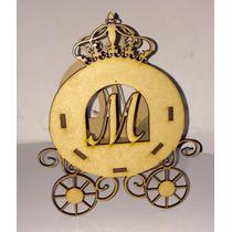 Carruagem Princesas Mdf - Enfeite De Mesa - Cachepô Letra