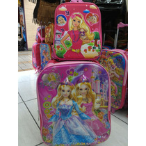 Mochila+lancheira Barbie Escolar Infantil 3d Rodinhas Grande