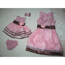 Vestido Rosa Marrom Mae E Filha