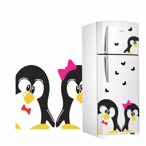 Aparador Em Mdf Com Gaveta ~ Adesivo Decorativo De Geladeira Casal Pinguim 1