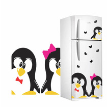 Adesivo Decorativo De Geladeira Casal Pinguim 1 Tradicional