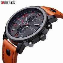 Relógio Masculino Curren Marca De Luxo, Pulseira De Couro