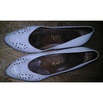 Zapatos De Cuero De Vestir Color Blanco Usados Madigliani