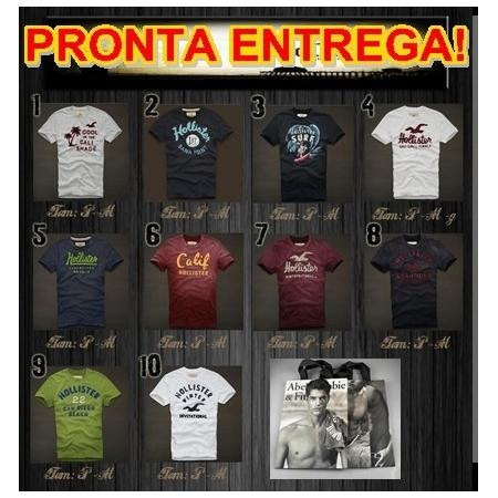 Camisetas Abercrombie   Fitch Hollister Af + Sacola Original - R  59 ... 5f80725a6b50d