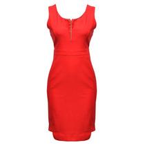 Vestido Sin Manga Liso Escote En V Dama Mujer Rojo 0143 Zoar
