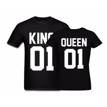 Kit 2 Camisetas Tshirt Estampada Casal King Queen Rei Rainha