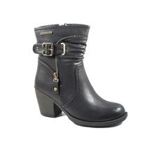 Botas Mujer Invierno Zapatos Chocolate Taco Hebilla 341184