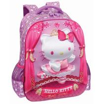 Mochila Infantil Hello Kitty Ballet G Alças P/ Costas Relevo