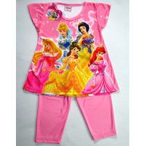 Pijama Conjunto Remera Y Capri Disney Princesas Rosa