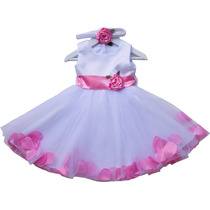 Vestido Con Pétalos Para Niñas Bautismos Fiestas Cumpleaños