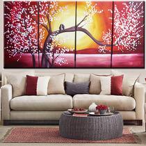 Cuadros Tripticos Grandes Cerezo Arbol Aves Pintados