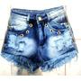 Shorts Jeans Destroyed Hot Pant, Panicat Feminino Verão Lanç