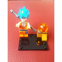Goku Dios Azul + Esfera Del Dragon Ball Super Minifigura Pop