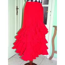Falda Flamenco Color Roja 5 Volados