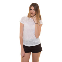 Blusa Blanca Detalles Tela Puntos Print Saints Clothes