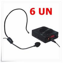 Kit 6 Amplificador De Voz Megafone Microfone P/ Professores